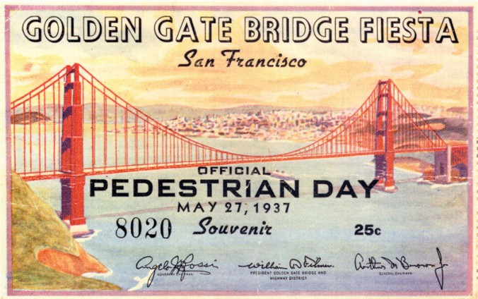 Pedestrian day pass from opening day (Photo: courtesy of the Golden Gate Bridge, Highway and Transportation District, www.goldengate.org)