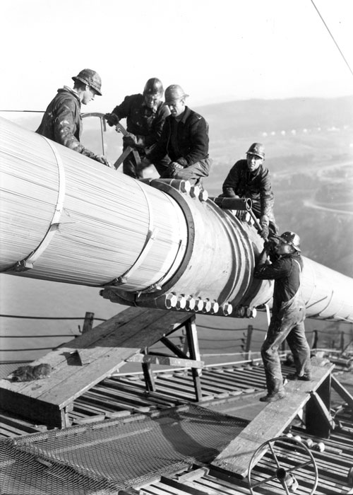 Workers on the main cable of the Golden Gate Bridge (photo: courtesy of the Golden Gate Bridge, Highway and Transportation District, www.goldengate.org)