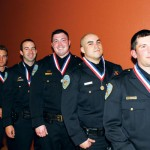 From left: SFPD Northern Station's five gold medal of valor recipients: Officer Joe Everson, Officer Michael Tursi, Officer Patrick Griffin, Officer Matt Lopez, and Officer Thomas Minkel  (photo: SFPD)