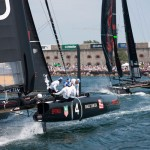 Oracle Teams Spithill (No. 4) and Couts (5) in the final race of the 2011-2012 ACWS  (photo: Gilles Martin-Raget)