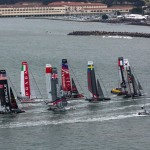 San Francisco was on display as teams rounded the first mark on Day 4   photo: Gilles Martin-Raget / ACEA