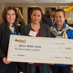 Golden 1 presented Marina Middle School with $1,000: (left to right) Golden 1 CEO/President Donna Bland, Golden 1's Marina branch manager Mariana Rochita, Marina Middle School principal Joanna Fong    Photo: courtesy golden 1