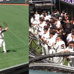 Bochy shows the crowd the World Series trophy