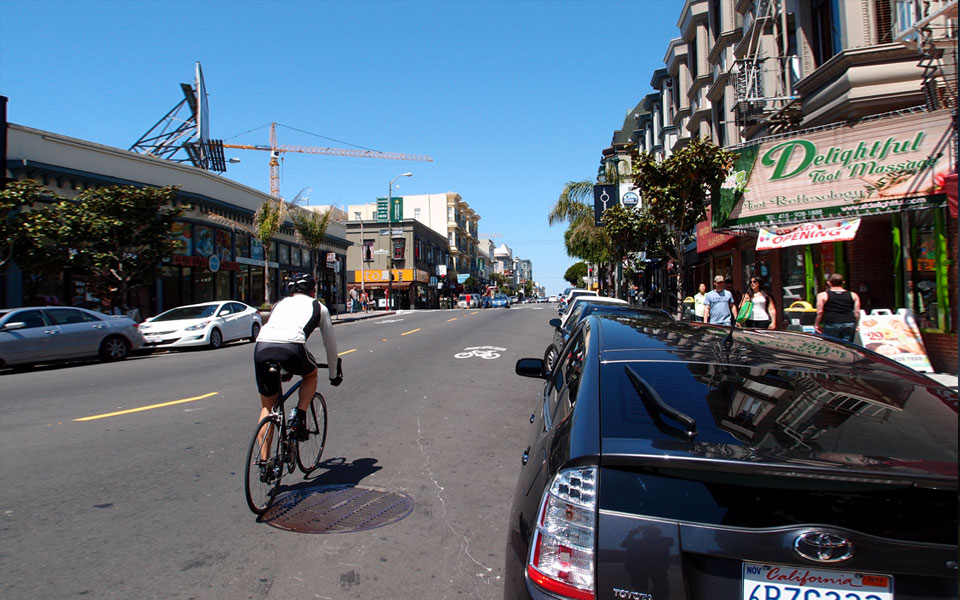Biker safety is one of the driving reasons for the Polk Street changes (Photo: earl adkins)