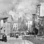 Sacramento Street during the great fire of 1906, which burnt down the offices of the Call, the Chronicle and the Examiner (Arnold Genthe / wikimedia commons)