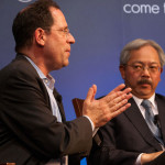 Bruce Katz, left, and Mayor Ed Lee discuss how San Francisco can take the lead in economic policymaking     photo: rikki ward