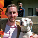 Supervisor Scott Wiener with a friend at Dogfest in Duboce Park    photo: COURTESY SCOTT WIENER