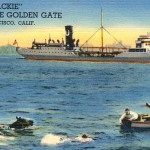 Colorized postcard image of Blackie the horse swimming the Golden Gate, 1938      photo: courtesy Carol A. Jensen / outsidelands.org