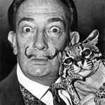 Salvador Dalí and Babou the ocelot    photo: Roger Higgins / library of congress