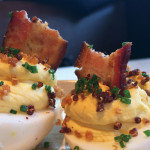 Deviled eggs with bacon and crispy quinoa at Fog City