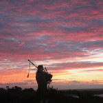 A bagpiper closes the links at Spanish Bay (photo: Bo Links)