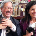 Mayor Ed Lee  and ACC director Rebecca Katz at the grand opening of the ACC-PFE cat adoption center on Market Street.    photo: corey stulce