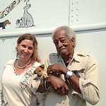 SNiP CA executive director Lynn Carvalho with environmentalist Maurice Campbell and Stallion, who was surrendered at the thrift store.   photos: courtesy snip ca