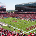 The Niners' new suburban stadium bristles with luxury skyboxes.     photo: jim bahn