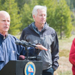 Governor Brown announces statewide water conservation rules.       Photos: California Department of Water Resources