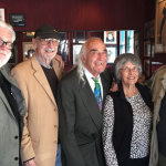 From left: Donald Ellis, executive editor Grizzly Peak Press; Ernest Beyl, Marina Times columnist; Tony Serra, noted San Francisco attorney; Nancy Peters, former executive director City Lights Booksellers & Publishers, and the still-youthful Lawrence Ferlinghetti celebrate Ferlinghetti's 96th birthday at Capp's Corner.