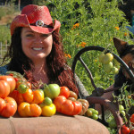 Jamie Collins, owner of Serendipity Farms, with farmhand Amity after the harvest.