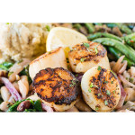 Clockwise: Corn and black beans at Plate; The Italian Homemade Company; Scallops from Plate.