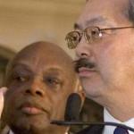 Former mayor Willie Brown looks on as Ed Lee is sworn in as interim mayor of San Francisco in 2011.   (Photo by Luke Thomas, FogCityJournal.com)