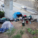 One of dozens of homeless camps under U.S. Highway 101 in the Mission.    photo: Steven Fromtling
