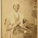 Carte de visite of Sojourner Truth, 1864; carte de visite (Learning is Wealth. Wilson, Charley, Rebecca & Rosa, Slaves from New Orleans), c. 1864.   photos: courtesy UC Berkeley Art Museum and Pacific Film Archive, gift of Darcy Grimaldo Grigsby