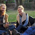 Wyatt Russell, Meredith Hagner, and Alex Karpovsky hit the road in Folk Hero & Funny Girl.  Photo: gpointstudio