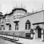 The only extant photo of the two-story Hindu temple of 1906, showing the auditorium entrance on Filbert Street. Photo: Vedanta Society of Northern California.
