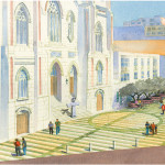 Lawrence Ferlinghetti's vision of the Piazza St. Francis-Poet's Plaza.  illustration: Piazza St. Francis-Poets Plaza Committee