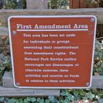 A free speech sign on National Park Service land. Photo: John Zipperer