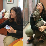 "Left: Rebecca Katz with dancing ""ambassabird"" Pineapple; right: Rebecca with shelter favorite, Doris."
