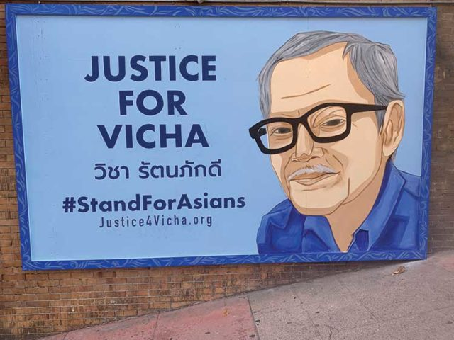 The �Justice for Vicha� mural by Thitiwat Phromratanapongse and Sarah Siskin in Chinatown. Photo: Anh L�